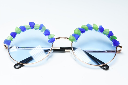 Handcrafted Couture Surf Tumbled Blue and Green Sea Glass Sunglasses