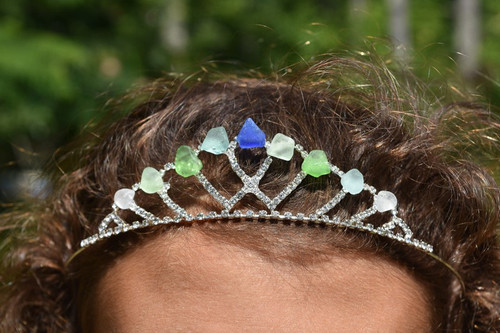 Mermaid Tiara - Shades of the Ocean Sea Glass on a Princess Crown or Tiara