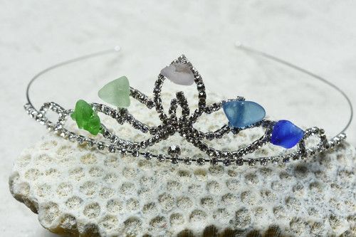 Mermaid Crown with Sea Glass Tiara with Beautiful Colorful Sea Glass