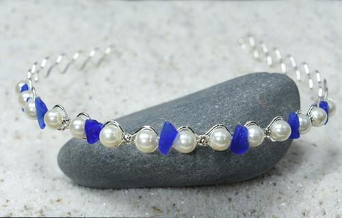Blue Sea Glass Hair Jewelry