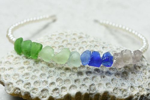 Fancy Pearl and Colorful Genuine Sea Glass Mermaid Headband perfect for Flower Girls or Bridal Parties