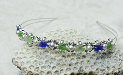 Mermaid Headband with Genuine Surf Tumbled Colorful Sea Glass Headband Perfect for Flower Girls or Bridal Parties