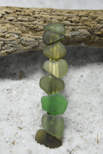 Shades of Green Sea Glass Hair Clip