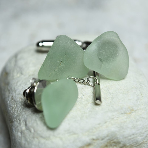 Custom Genuine Aqua Surf Tumbled Sea Glass Tie Tack and Cufflinks Set