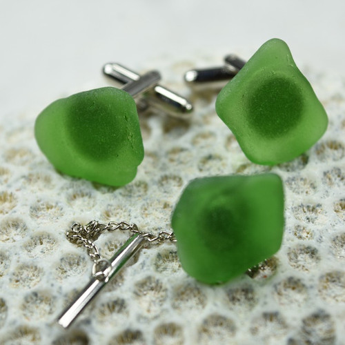 Green Sea Glass Cufflinks and Tie Tack