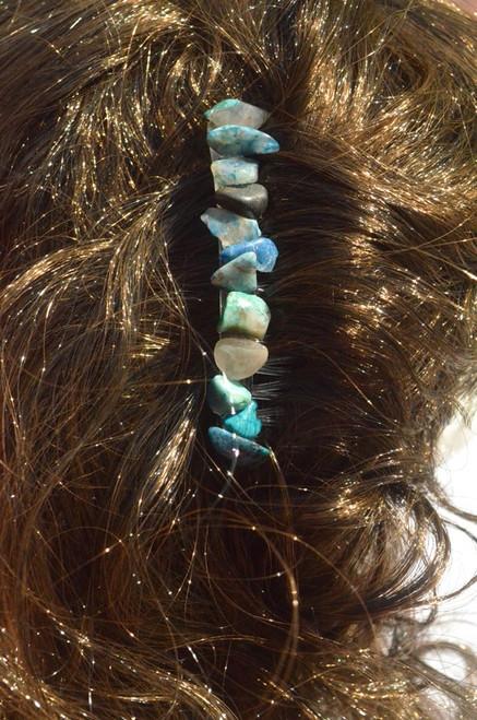 Chrysocolla Stone Hair Combs