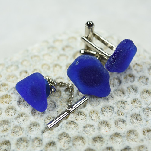 Custom Genuine Cobalt Blue Surf Tumbled Sea Glass Tie Tack and Cufflinks Set