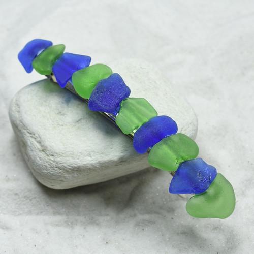 Blue and Green Sea Glass Barrette