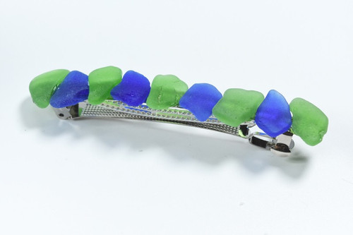 Blue and Green Sea Glass French Barrette