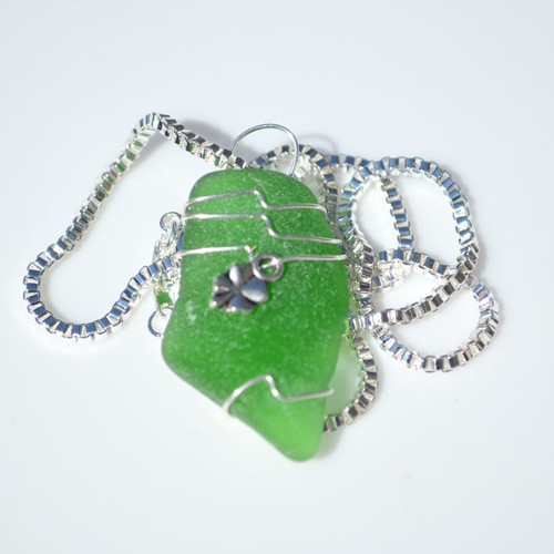 Genuine Sea Glass Necklace with a Silver Clover Charm - Choose the Color Sea Glass - Frosted, Green, Brown, or Aqua - Made to Order