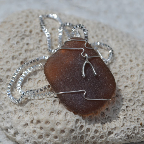 Custom Handmade Genuine Sea Glass Necklace with a Silver Wishbone Charm - Choose the Color - Frosted, Green, Brown, or Aqua-1