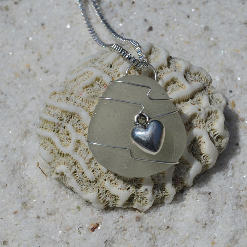 Custom Handmade Genuine Sea Glass Necklace with a Silver 3-D Heart Charm - Choose the Color - Frosted, Green, Brown, or Aqua-2