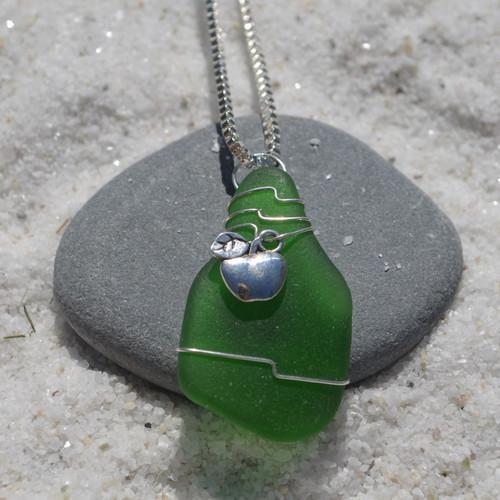 Custom Handmade Genuine Sea Glass Necklace with a Silver Apple Charm - Choose the Color - Frosted, Green, Brown, or Aqua-1