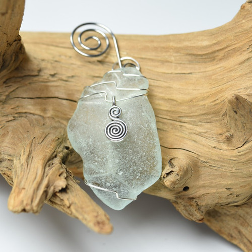 Spiral Charm on a Custom Surf Tumbled Sea Glass Ornament - Choose Your Color Sea Glass Frosted, Olive Green, and Brown.