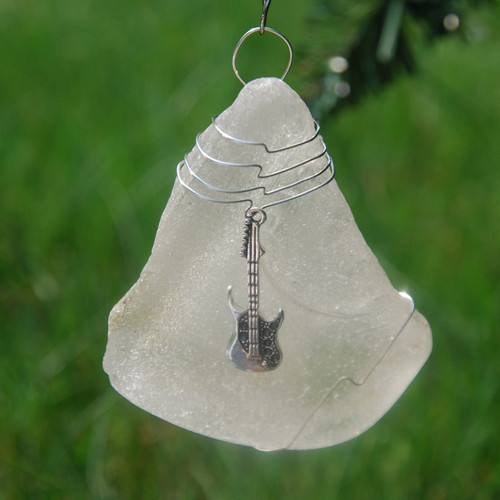 Guitar Charm on a Custom Surf Tumbled Sea Glass Ornament - Choose Your Color Sea Glass Frosted, Olive Green, and Brown.