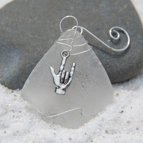 ASL I Love You Charm on a Custom Surf Tumbled Sea Glass Ornament - Choose Your Color Sea Glass Frosted, Olive Green, and Brown.