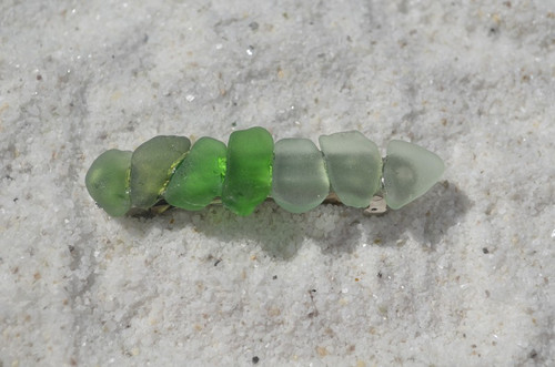 Shades of Green Sea Glass French Barrette