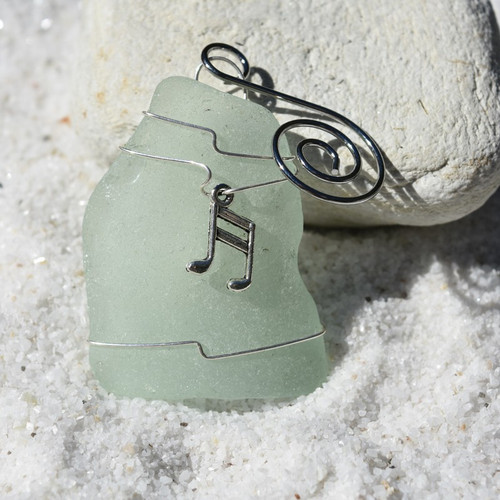 Musical Note Charm on a Custom Surf Tumbled Sea Glass Ornament - Choose Your Color Sea Glass Frosted, Olive Green, and Brown.-1