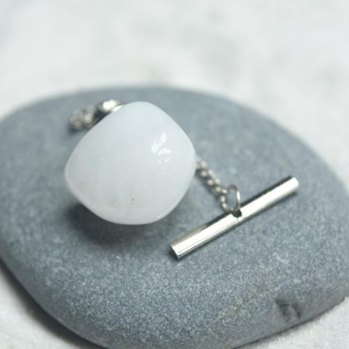 Snow Quartz Stone Tie Tack