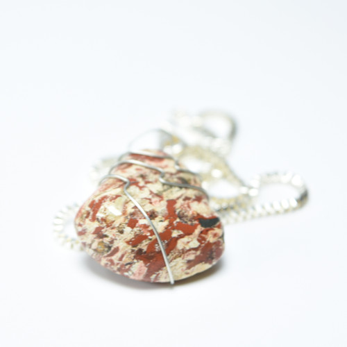Brecciated Jasper Stone Necklace Wire Wrapped