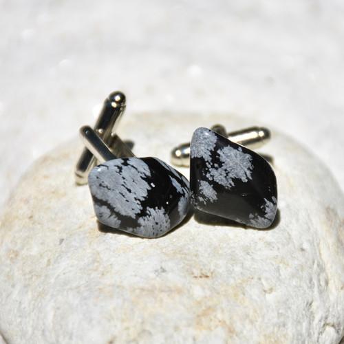 Snowflake Obsidian Stone Cufflinks