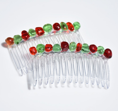 Red and Green Stone Hair Combs