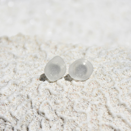 Tiny Stud Frosted Sea Glass Earrings