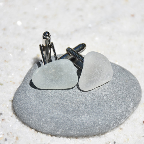 Frosted White Sea Glass Cufflinks