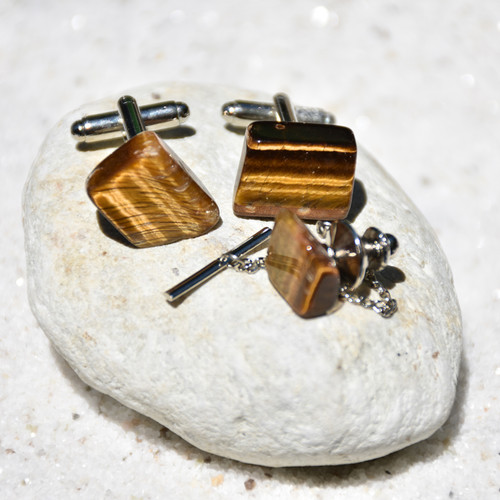 Gold Tiger's Eye Cufflinks and Tie Tack