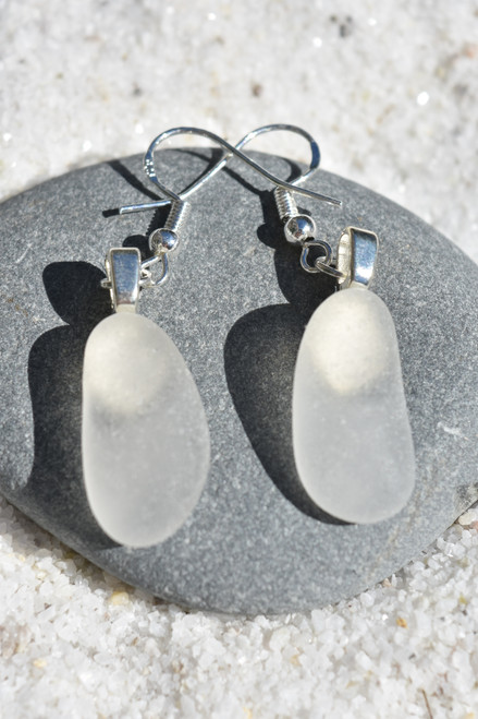 Dangling White Sea Glass Earrings