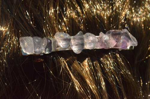 Fluorite Stone French Barrette Hair Clip