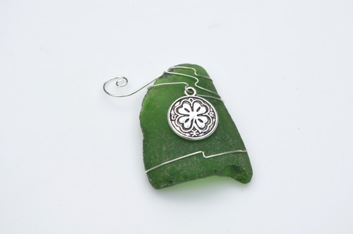 Shamrock Medalion Surf Tumbled Sea Glass Ornament