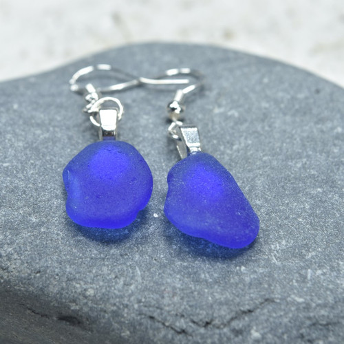 Dangling Cobalt Blue Sea Glass Earrings