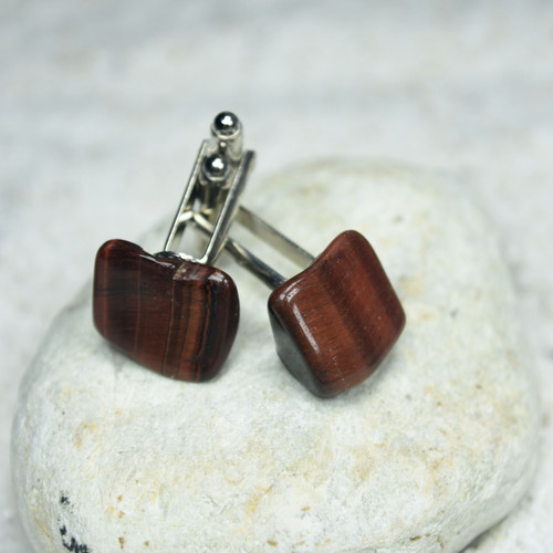 Tumbled Red Tiger's Eye Cufflinks