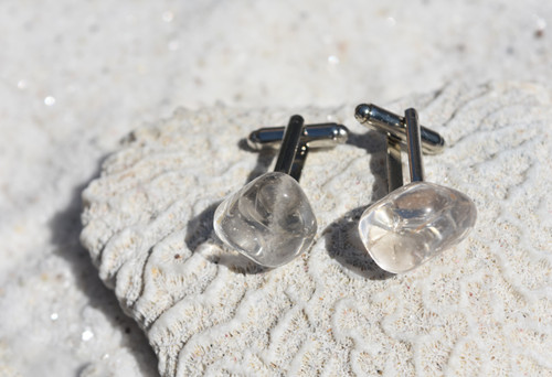 Clear Crystal Quartz Stone Cufflinks