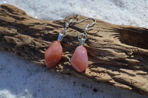Tumbled Apricot Agate Stone Earrings