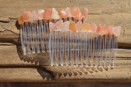 Peach Quartz Stone Hair Combs
