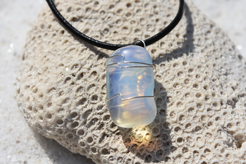 Wire Wrapped Tumbled Opalite Stone