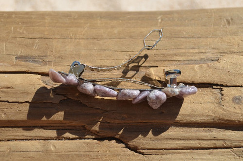 Lepidolite Stone French Barrette Hair Clip with Lavender Stones - 60 mm