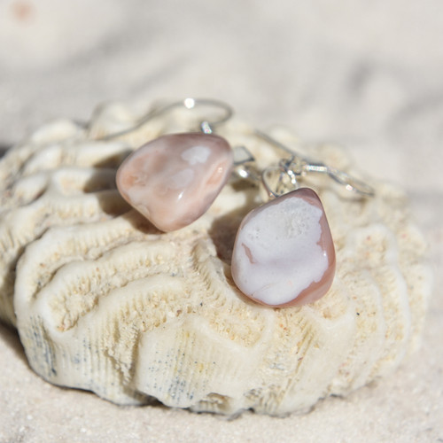 Pink Botswana Agate Earrings