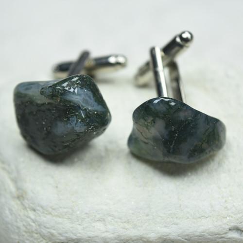 Tumbled Green Moss Agate Stone Cufflinks