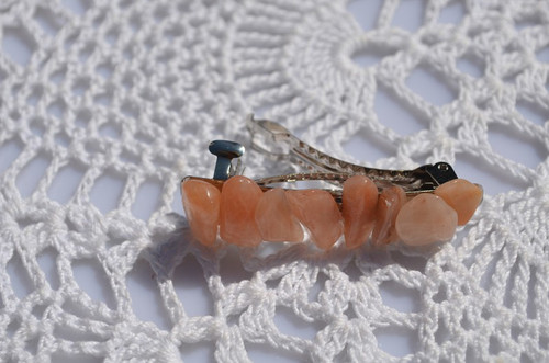 Peach Quartz Stone French Barrette