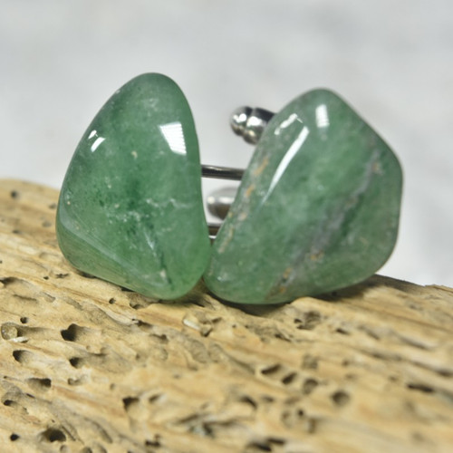 Custom Green Aventurine Stone Cufflinks Handmade - 1 Set