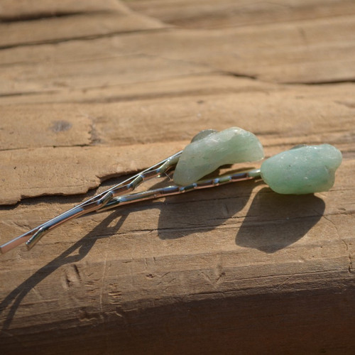 Aventurine Stone Hair Pins (Quantity of 2)