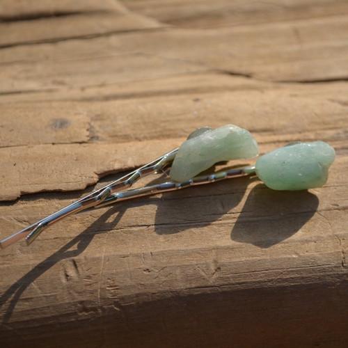 Aventurine Stone Hair Pins