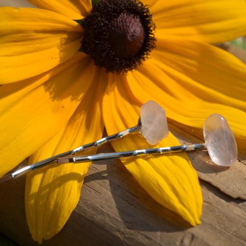 Pink Rose Quartz Hair Pins