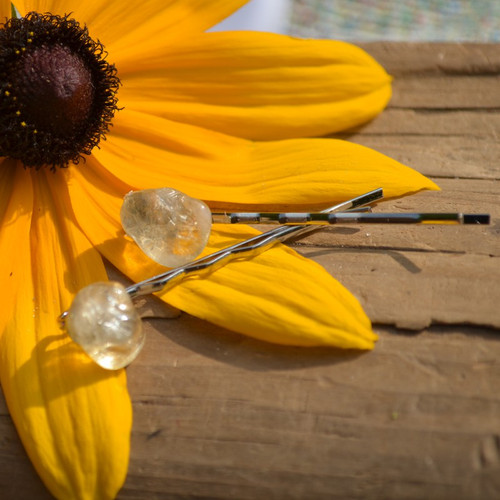 Citrine Stone Hair Pins (Quantity of 2) - Made to Order