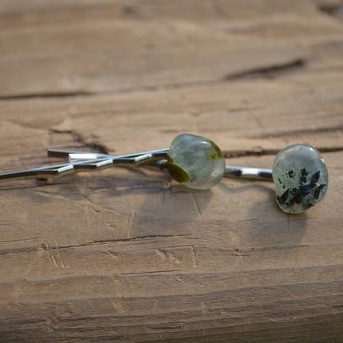 Prehnite Stone Hair Pins