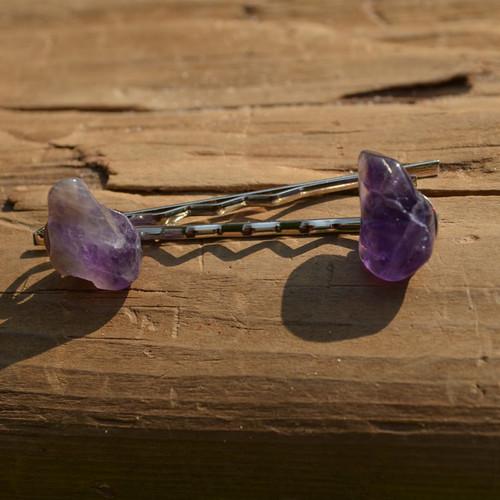 Amethyst Stone Hair Pins (Quantity of 2)-1