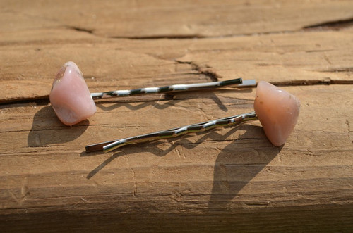Pink Opal Stone Hair Pins (Quantity of 2)